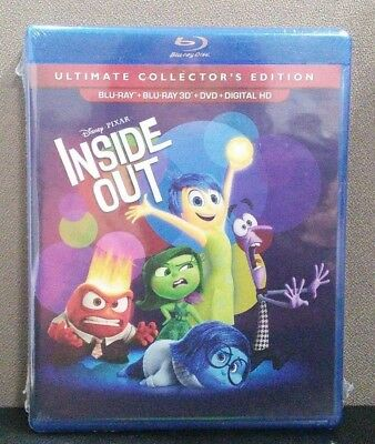 Authentic Disney: Inside Out (3D & 2D Blu-ray + DVD + Digital)   BRAND NEW