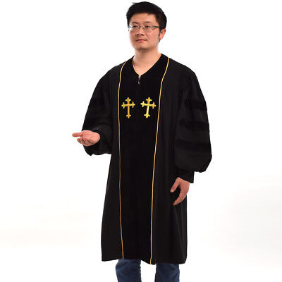 Pulpit Robe Pastor Robe Chasuble Gown Black Cleric Clergy Doctoral Embroidered