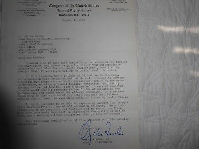 Congressman Wyche Fowler signed letter on official letterhead dated August 1, 19