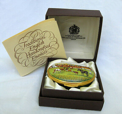 Toye Kenning Spencer Limited Edition English Enamel Trinket Box Horse Farm Scene