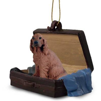 Irish Setter Traveling Companion Dog Figurine In Suit Case Ornament
