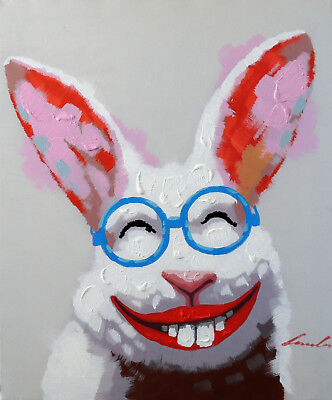 Bunny Rabbit Smile Portrait Modern Pop Art Stretched 20X24 Mixed Media Painting