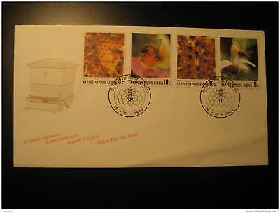 BEEHIVE HONEYCOMB BEE HIVE BEES HONEY BEEKEEPING APICULTURE Cyprus 1989 FDC Canc