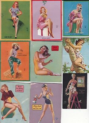 LOT of  various  artists  PIN-UP/CHEESECAKE   ink 1940s  blotters (14 )