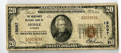 1929 $20 Merchants National Bank of Mobile Alabama Bank Note, D002969A