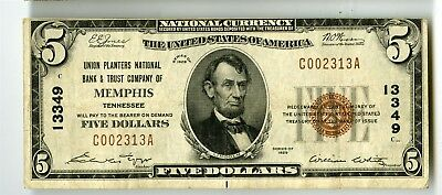 1929 $5 Union Planters National Bank Memphis Tennessee Banknote, C002313A