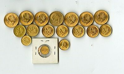 17 Foreign Gold Coins, Mexico Pesos