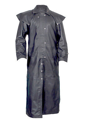 HAND MADE100% REAL LEATHER BLACK DUSTER Trench / Riding Coat  mans mens