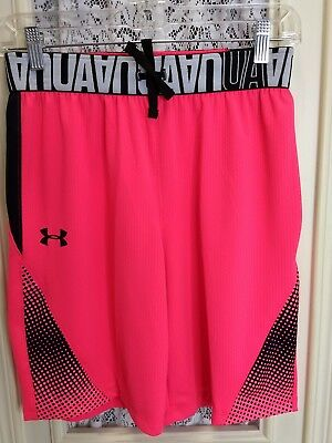 NEW Under Armour UA Youth Girl's Large Pink/Black Athletic Shorts HeatGear