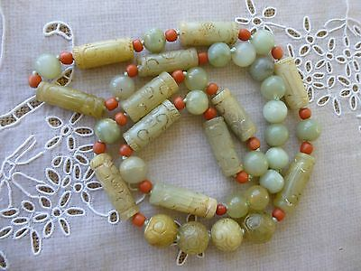 Antique Chinese Natural Jade and Salmon Coral Beads extra Heavy  Necklace