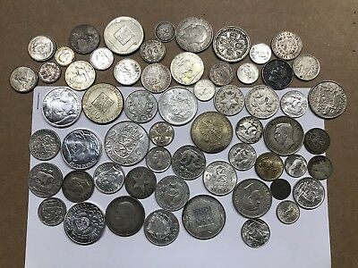 LOT OF (60) SILVER WORLD COINS MIXED COUNTRIES AND TYPES - 380.9g TOTAL WEIGHT!