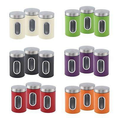 3pc Stainless Steel Window Canister Set Tea Coffee Sugar