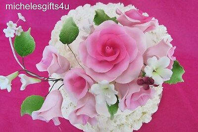 "Large 4""x7"" Gum Paste Sugar Pink Roses Leaves White Cake Decorating Flowers"