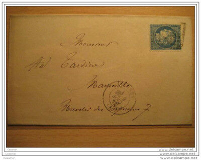 1872 AVIGNON A Marseille 260 Cancel 25c Timbre Sello Stamp Sobre Cover Lettre Fr