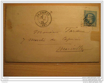 1871 LA CIOTAT A Marseille 1029 Cancel 20c Timbre Sello Stamp Sobre Cover Lettre