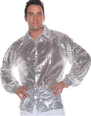 Silver Sequins 1970'S Disco Shirt Mens Halloween Party Costume Accessory