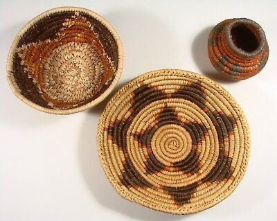 Group Of 3 Hand Made Baskets, Three Styles, Very Nice