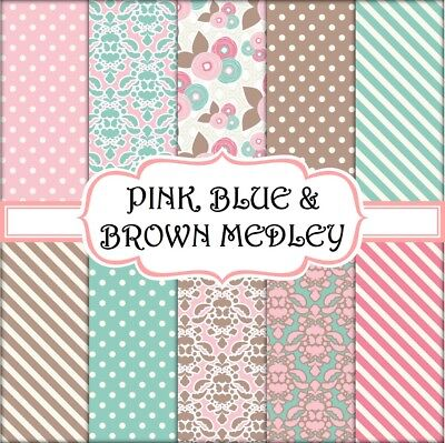 PINK, BLUE & BROWN MEDLEY SCRAPBOOK PAPER - 10 x A4 pages