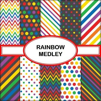RAINBOW MEDLEY SCRAPBOOK PAPER - 10 x A4 pages