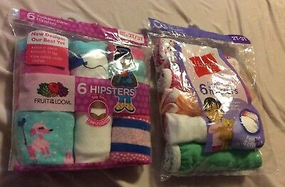 Fruit of the Loom Toddler Girls 6-Pair Hipsters Multi-Color Underwear Size 2T/3T
