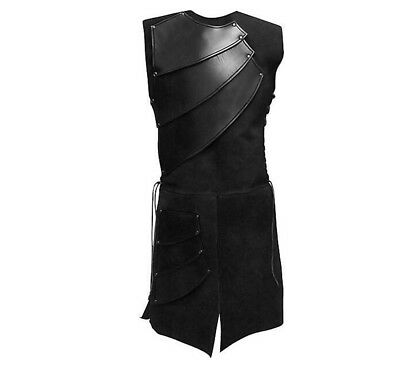 Men Medieval Knights Cosplay Costume Black Sleeveless Tunic XL