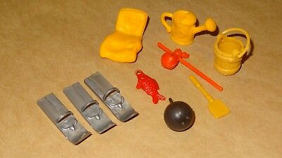 Smurfs Lot of 10 Smurf Parts Watering Can, Bucket, Snow Skies, Red Fish & More