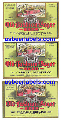 1930's U Permit beer labels - 3 diff OLD FASHION LAGER  - Cassville, WI (TAZ-30)