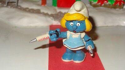 Smurfs Nurse Smurfette with Needle Smurf Vintage Rare Classic Display Figurine