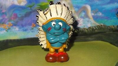 Smurfs Indian Chief Smurf Feather Headdress Rare Vintage Classic Display Figure
