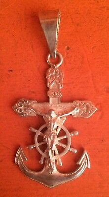 Beautiful & Rare Holy  Big Cross Crucifix Form Anchor Silver Sterling 925 Solid