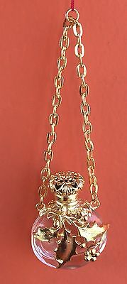 Antique Victorian/Edwardian Chatelaine Perfume Bottle Cut Chrystal Gold plated