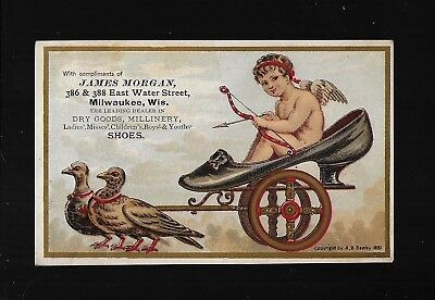 Pigeons Pull Cupid In Shoe Chariot-1881 Victorian Trade Card