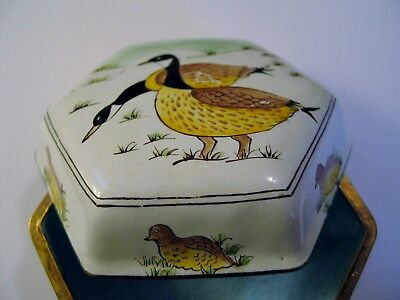 "Canadian Geese & Gooslings Birds Trinket Box Painted Metal & Porcelain 4"" x 2""."