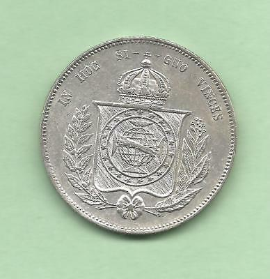 Brazil 1855 Silver 2000 Reis with Strong Details  Silver Dollar Size