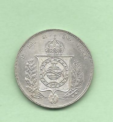Brazil 1866 Silver 1000 Reis with Strong Details