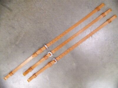 Leather Luggage Straps for Luggage Rack Carrier 3 Strap Set Lt Honey SS Buckles