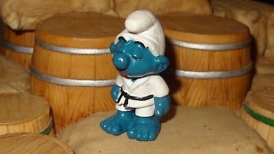 Smurfs Judo Smurf Karate Kid Fighter Rare Vintage Display Original Figurine