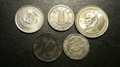 Lot Of 5 China Coins.1942 50 Cents , 1937 Chiao , Two 1 Mace Coins And 20 Cents