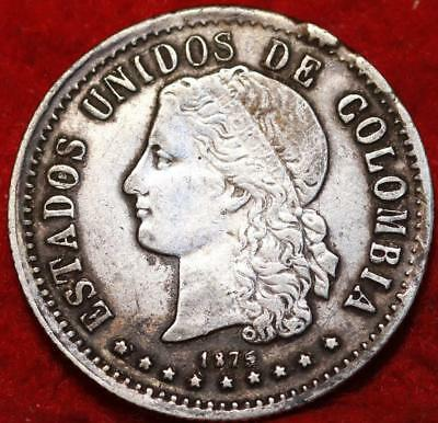 1875 Colombia 20 Centavos Silver Foreign Coin