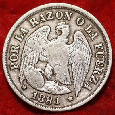 1881 Chile 1 Decimo Silver Foreign Coin