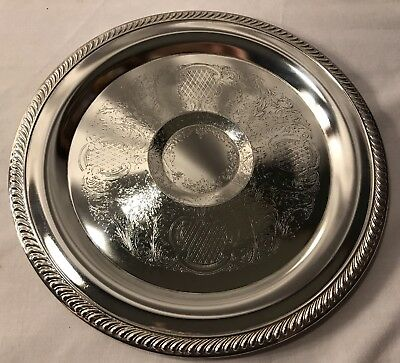Silverplated Art Nouveau Style Round Tray Leaf & Floral Design Hong Kong