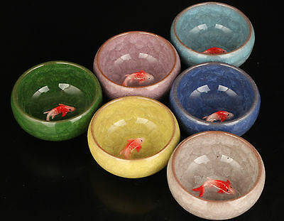 6 Chinese Ice Crack Porcelain Unique Fish Bowl Tea Cups Statue Japanese Style