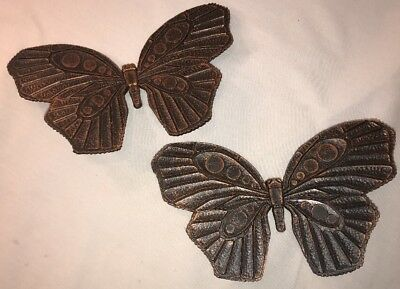 Rare Vtg  Syroco Black/copper Butterflies Wall Plaques B7291 Coppercraft Guild