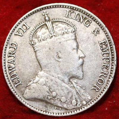 1902 Straits Settlements 10 Cents Silver Foreign Coin