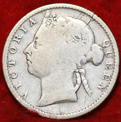 1899 Straits Settlements 10 Cents Silver Foreign Coin