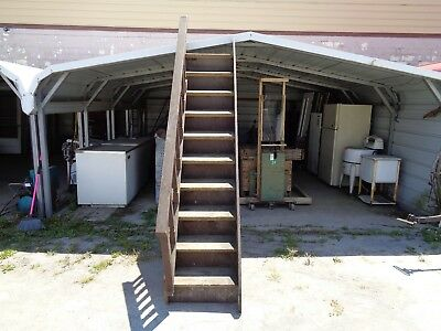 Antique Wooden Staircase W/railing Out Of Rockford, Ohio Post Office Very Old