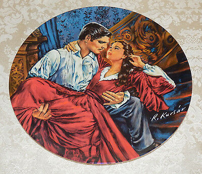 """1986 KNOWLES 10"""" Gone With The Wind Plate SCARLETT AND RHETT The Finale COA GWTW"""