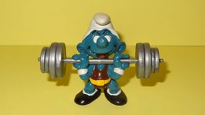 Smurfs Weightlifter Super Smurf Vintage Classic Display Figurine