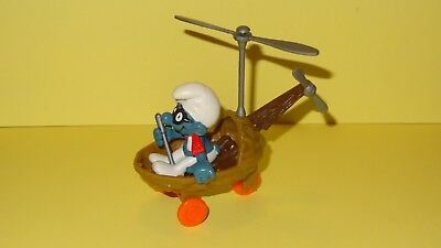 Smurfs Helicopter Super Smurf Vintage Rare Display Classic Figure