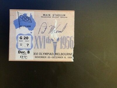 Melbourne Olympic Games1956 Pat McCormick Autograph Closing Ceremony Ticket Stub